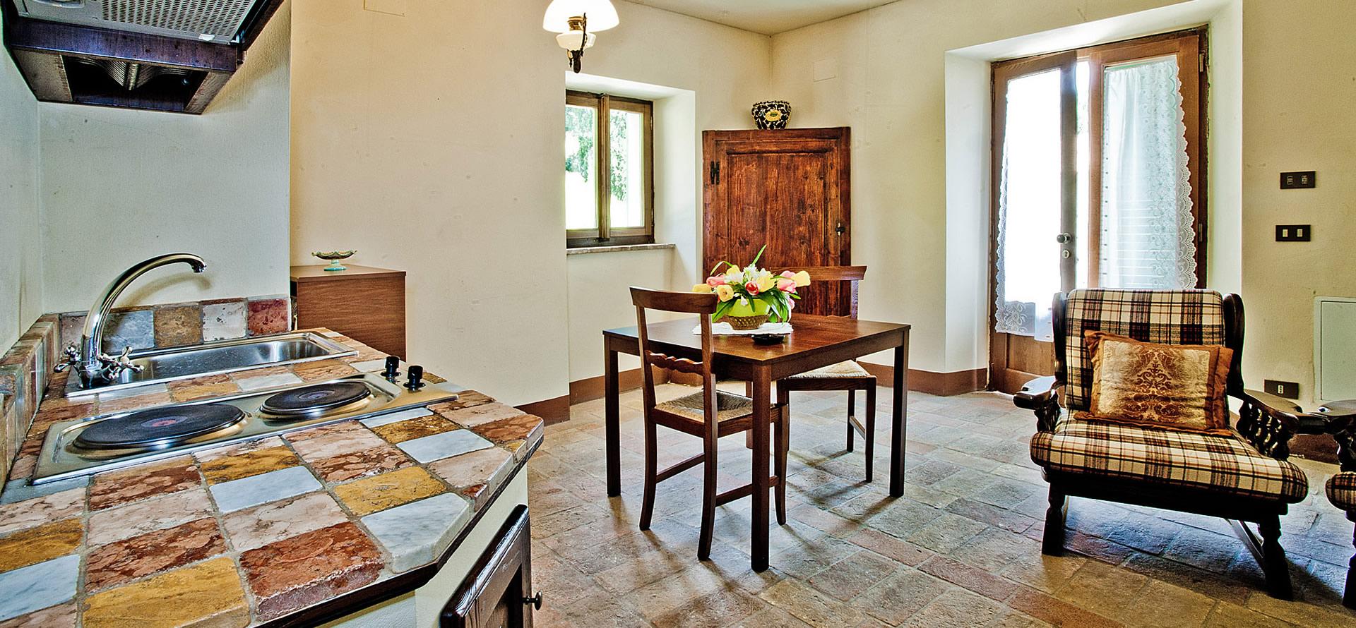 Soggiorno e cucina appartamento granaio