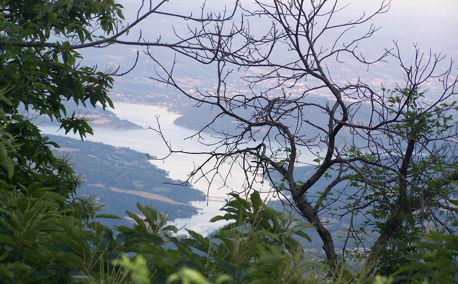 Vista sul lago dai boschi di Caprese Michelangelo