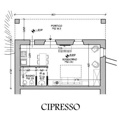 Appartamento Cipresso, pianta (la disposizione dei mobili non è fedele)