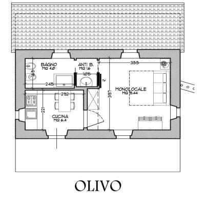 Appartamento Olivo, pianta (la disposizione dei mobili non è fedele)