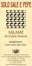 Etichetta del nostro salame. In primo piano gli ingredienti naturali.